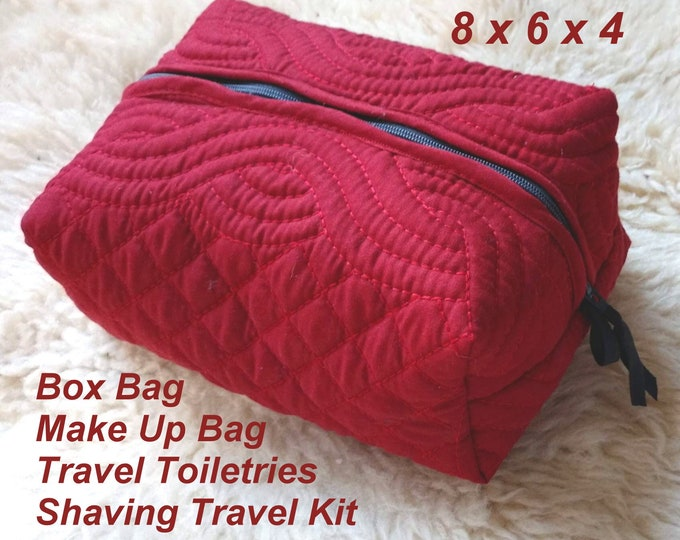 Box Bag - Make Up Bag - Travel Toiletries - Shaving Travel Kit