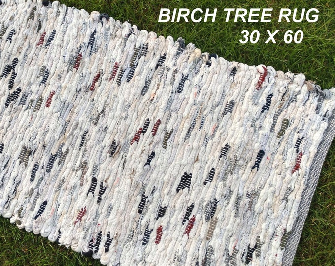 Handwoven Rug--- Birch Tree -- 30 X 60