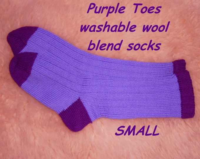 Purple Toe Socks - made with washable yarn -  wool acrylic blend --- SMALL