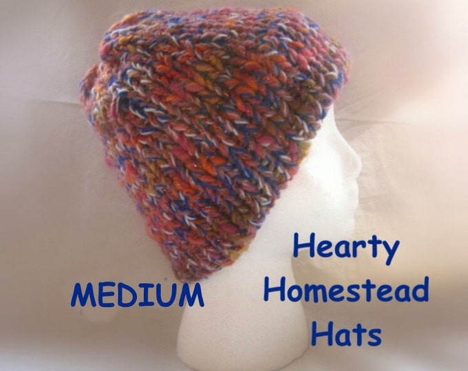 Hearty Homestead Hat - thick handknit hats with double layered hem brim - MEDIUM