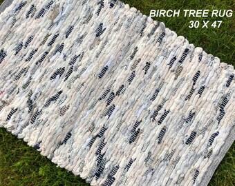 Handwoven Rug--- Birch Tree -- 30 X 47