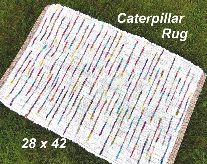 Handwoven --- Caterpillar Rug --- GREAT for a Baby Gift  --- 42 x 28