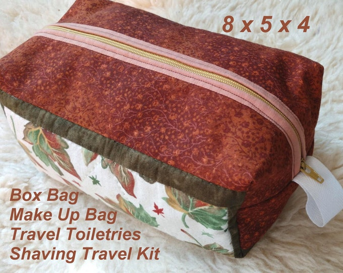 Autumn Box Bag - Make Up Bag - Travel Toiletries - Shaving Travel Kit