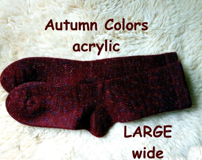AUTUMN COLORS Socks --- washable acrylic nonallergenic -- LARGE wide foot