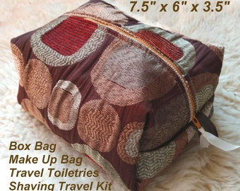 Tufted Satin Box Bag - Make Up Bag - Travel Toiletries - Shaving Travel Kit