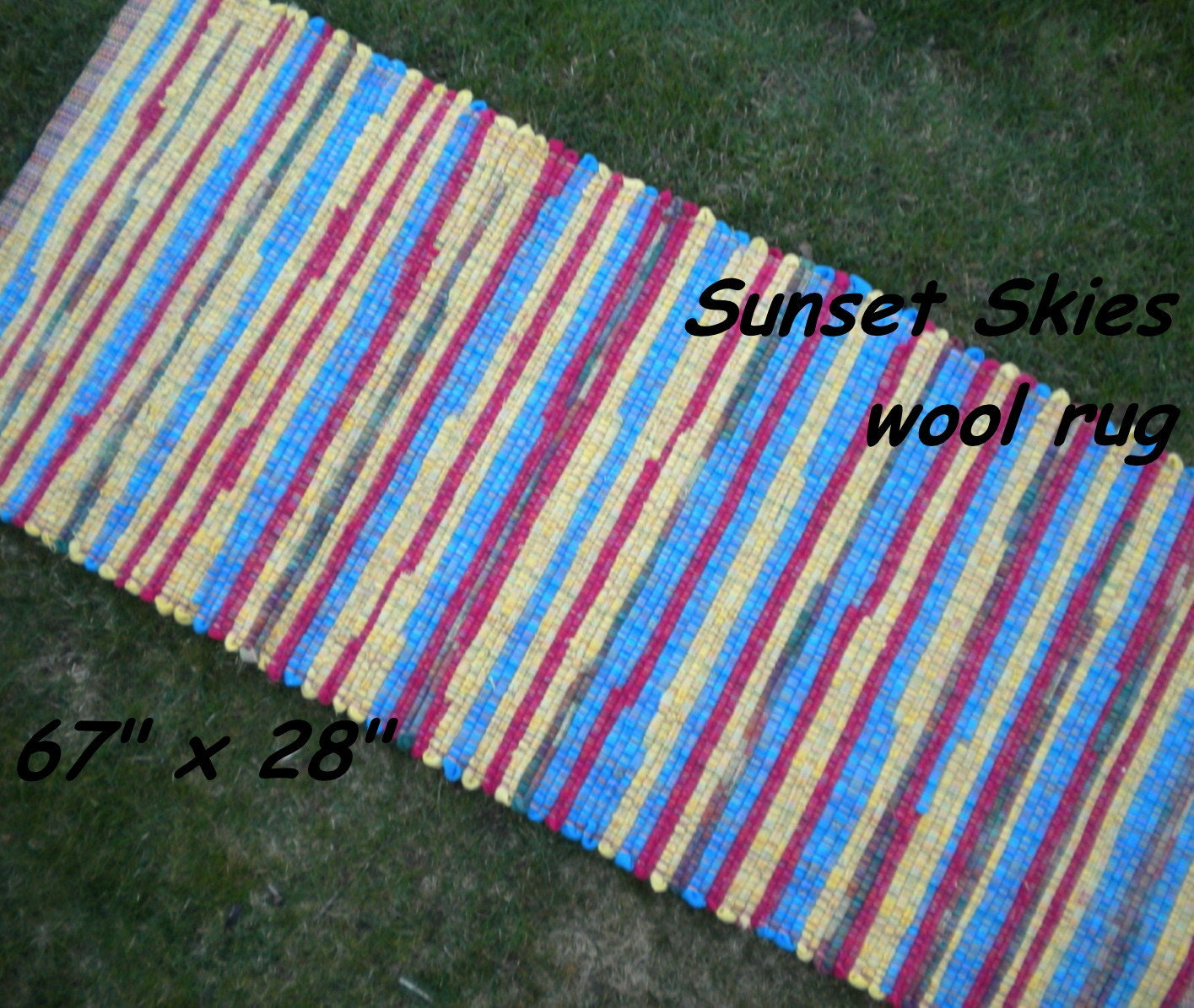 Handwoven Sunset Skies THICK Wool Fabric Rag Rug 67
