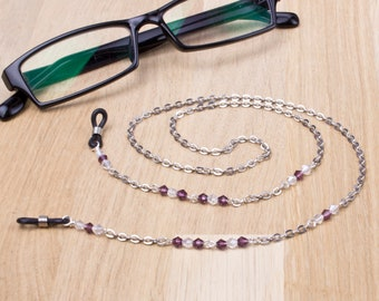 EyeGlass Holders Black Elastic with Fancy SILVER or GOLD Bead ~ Make your own!