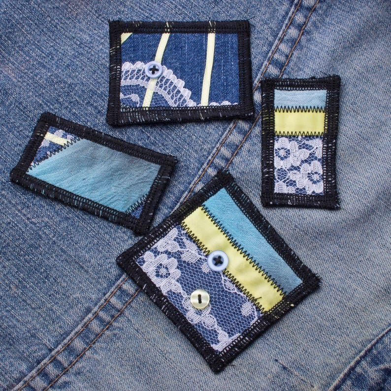 Patch set  4 piece denim lace and buttons patchwork sew-on image 0