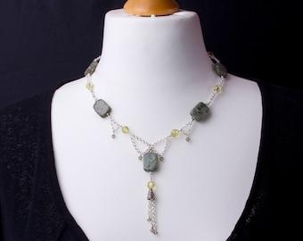 Green Jasper swag necklace with chain tassel - Jasper gemstone and bead statement necklace   Jasper jewellery