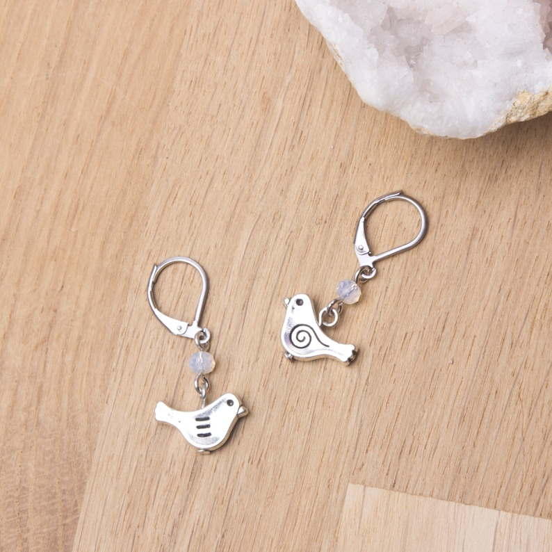 Little bird earrings  Bird jewellery  Cute boho earrings  image 0