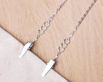 Napkin clips - Hearts link and bead napkin chain | serviette holder cord | napkin neck strap | Plain Adult bib clip | Mask holder chain