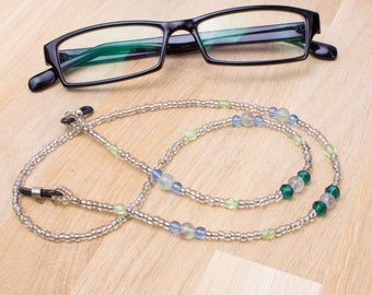 Fluorite eyeglass chain - Gemstones with blue and green beads glasses chain | sunglasses cord | eyewear lanyard | beaded glasses cord