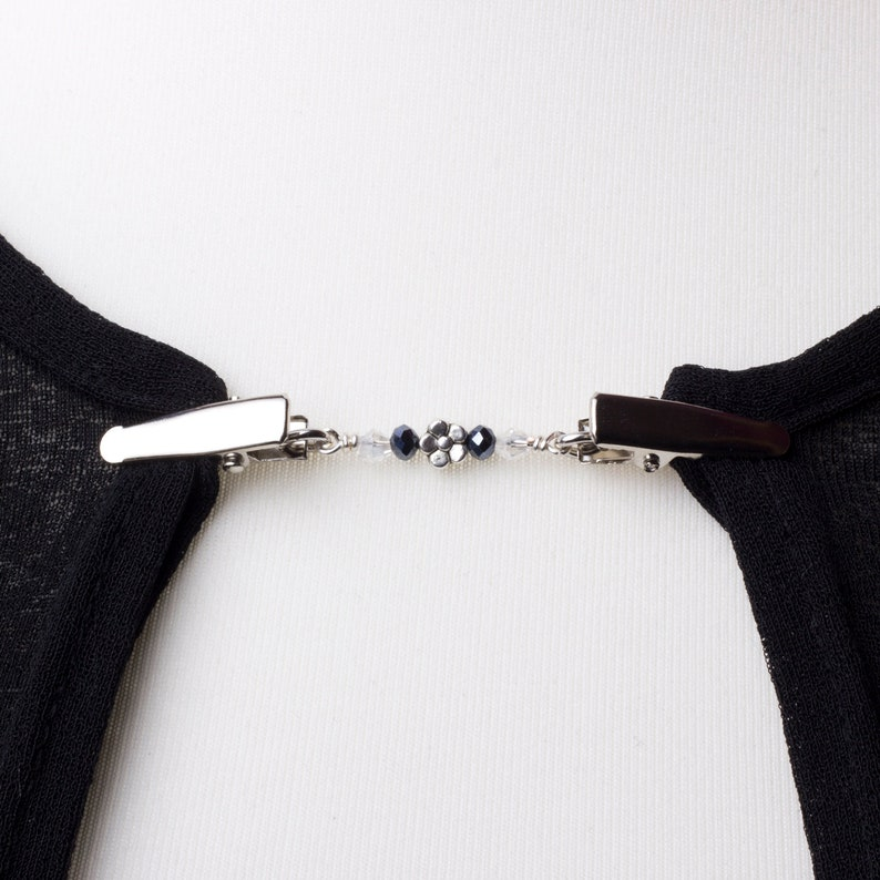 Flower Cardigan clip  black and clear beads sweater clip  image 0