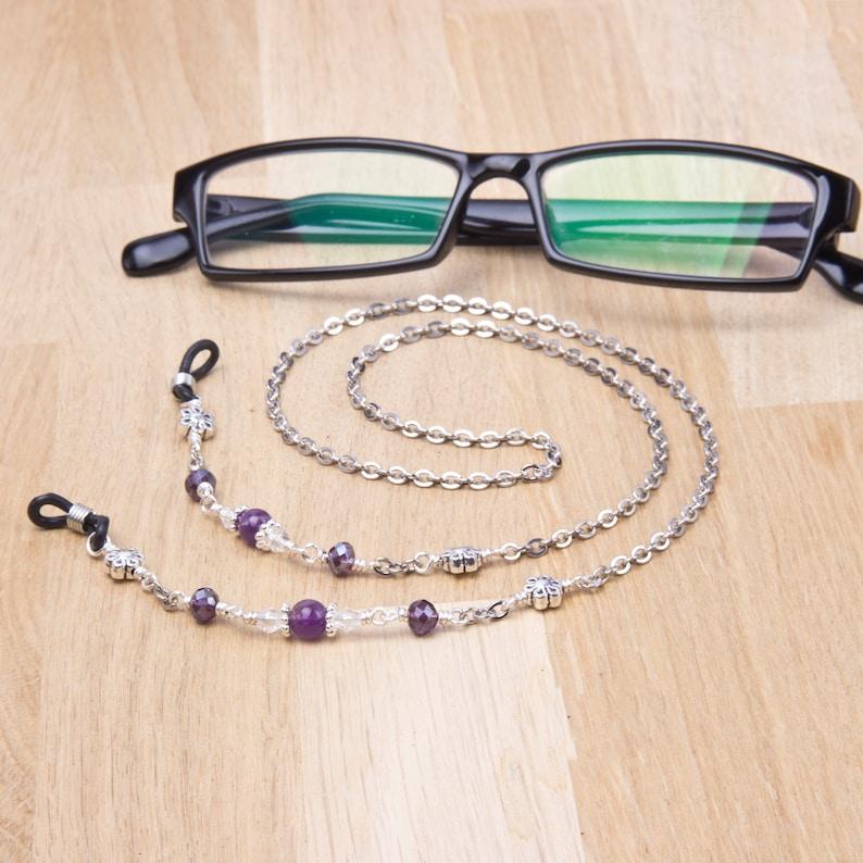 Amethyst glasses chain  gemstone purple bead and flower image 0