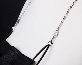 Unisex Mask holder chain - Squares link silver face mask strap | Necklace mask holder lanyard