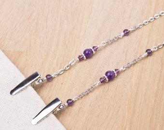 Amethyst napkin neck chain clips - Gemstone and purple bead silver serviette clip napkin chain | Foodie gifts | Napkin holder cord