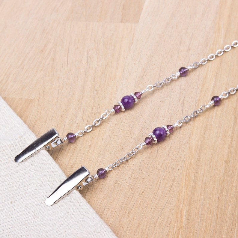 Amethyst napkin neck chain clips  Gemstone and purple bead image 0