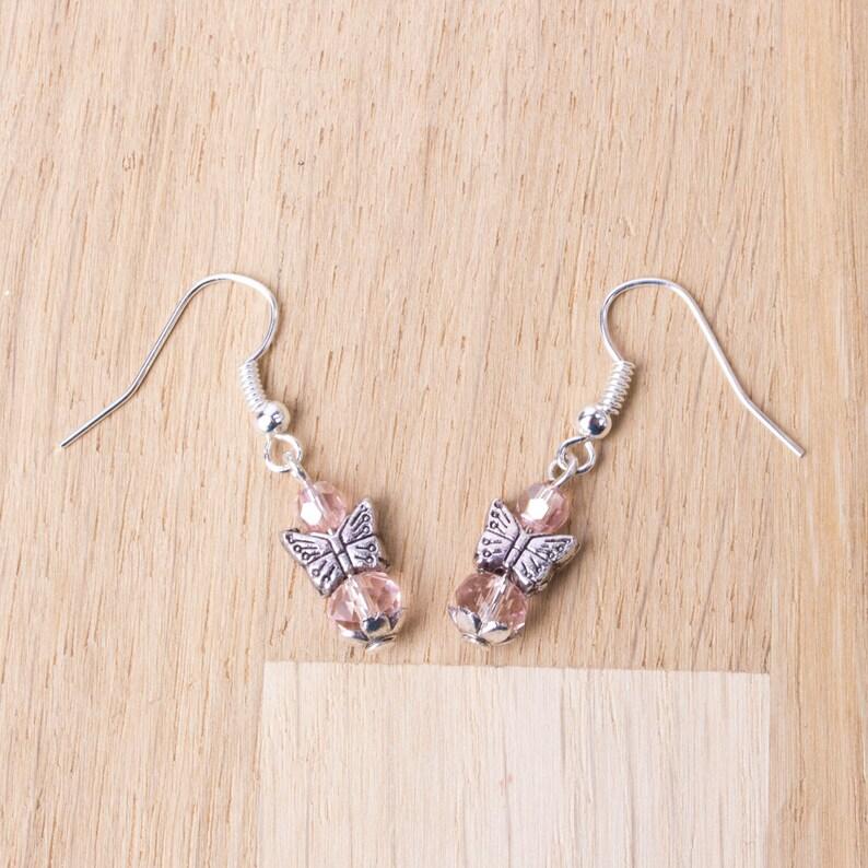 Pink bead dangle earrings Small butterfly earrings Pink Butterfly earrings Butterfly jewellery Cute boho earrings Animal jewellery