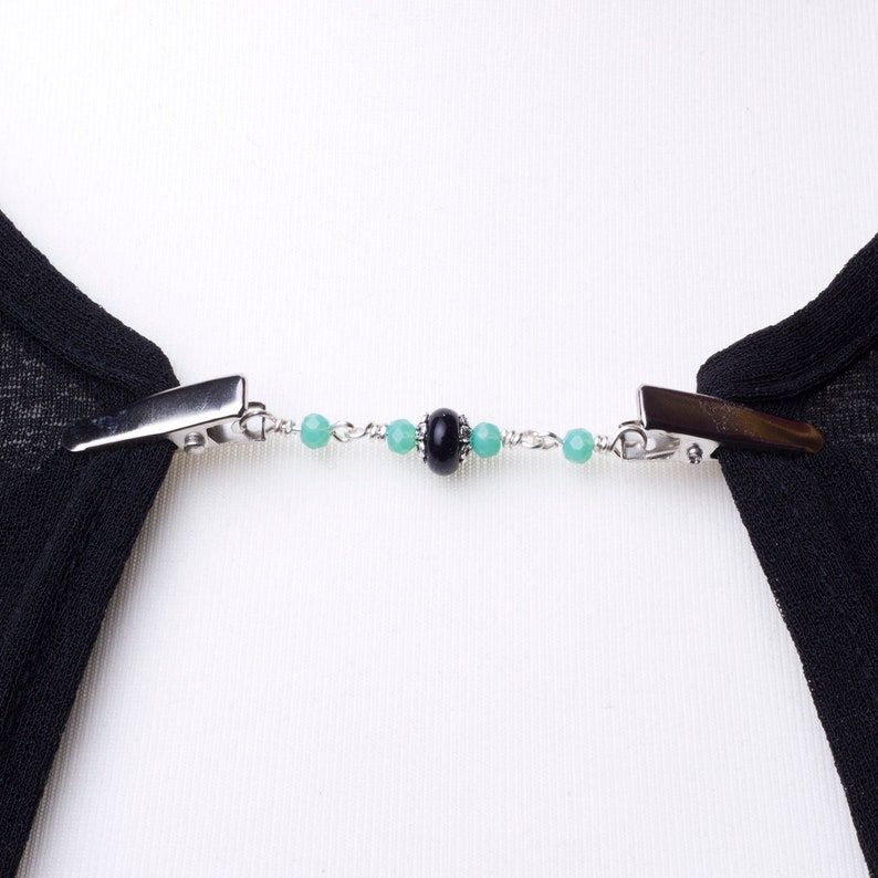 Cardigan clips  Blue goldstone and green bead sweater clip  image 0