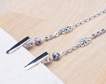 Napkin neck chain clips - Sesame jasper fancy link silver serviette clip napkin chain | Foodie gifts | Napkin holder cord | Adult bib clip