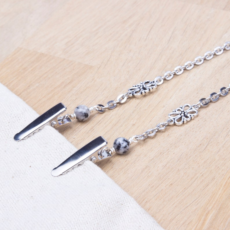 Napkin neck chain clips  Sesame jasper fancy link silver image 0