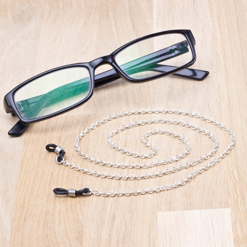 Simple glasses chain  Plain silver eyeglasses chain  image 0