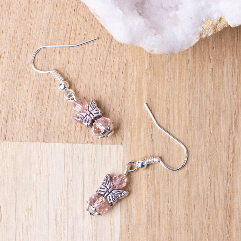Pink Butterfly earrings  Butterfly jewellery  Cute boho image 0