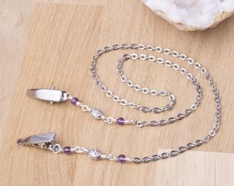 Gemstone napkin chain - Amethyst silver serviette clip | Elegant Napkin clips |  Napkin holder neck cord | Foodie gifts | Diner clip