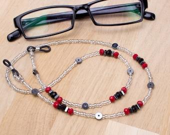 Hematite and red bead eyeglass chain -  gemstone silver glasses chain   Eyewear neck cord   Sunglasses holder   Reading lanyard