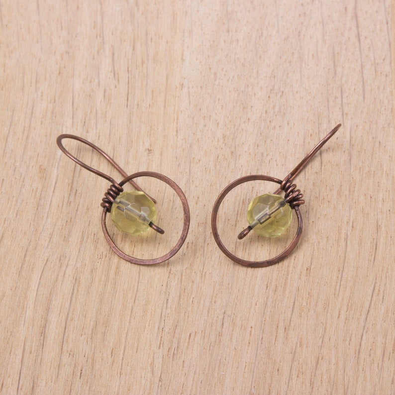 Copper circle earrings  Yellow bead hammered copper hoop image 0