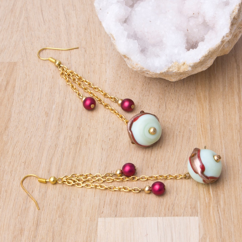 Long lampwork gold chain earrings  mint green and satin red image 0