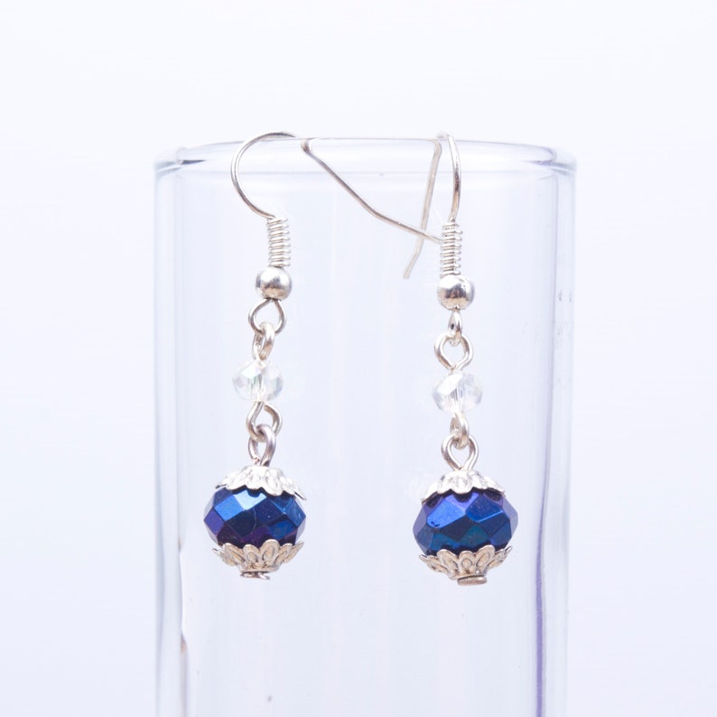 Deep Blue Bead Earrings  Metallic and clear sparkle faceted image 0