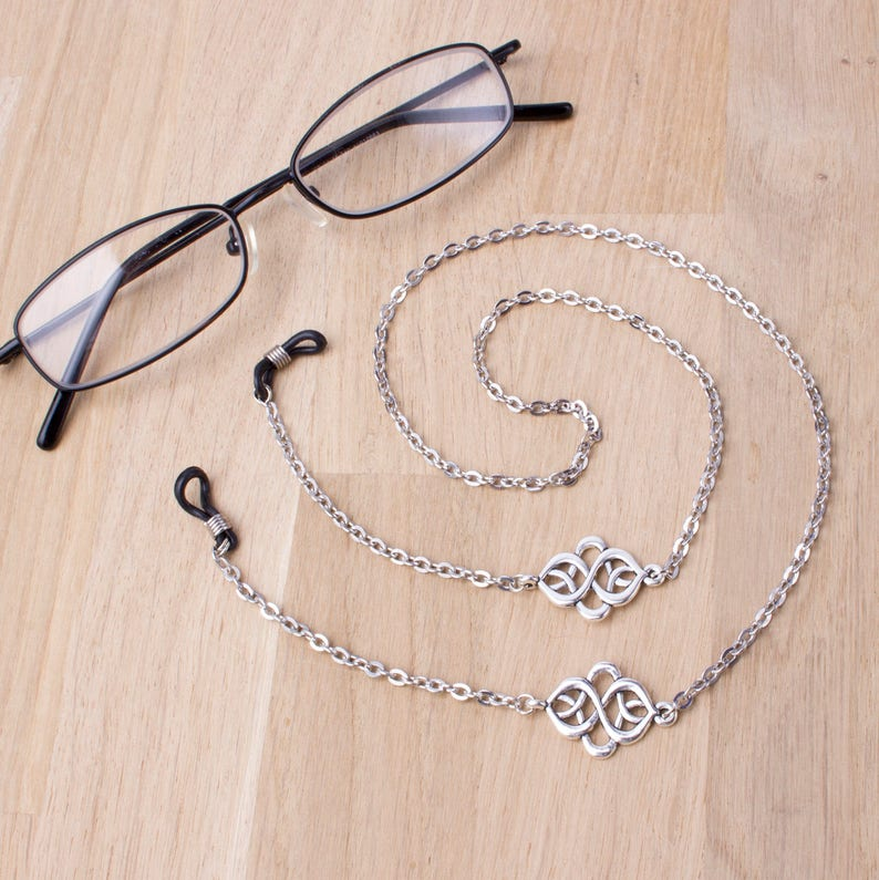Silver eyeglasses chain  elegant knot link glasses chain  image 0