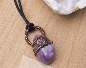 Amethyst Copper pendant - gemstone nugget electroformed necklace, Purple Amethyst crystal jewellery, Copper spiral wire wrapped tumblestone