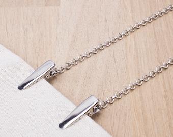 Plain Napkin Clip chain -  silver chain napkin cord | mask holder chain | napkin clips neck chain | Foodie gift for Dad