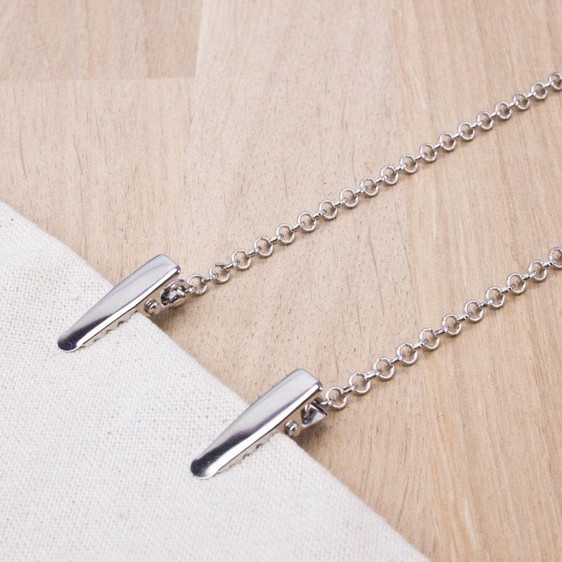 Plain Napkin Clip chain   silver chain napkin cord  silver image 0
