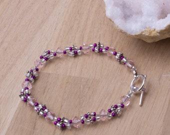 Pink bead bracelet - pretty pink and silver bead double strand bracelet   Pink jewellery   Beaded jewellery  