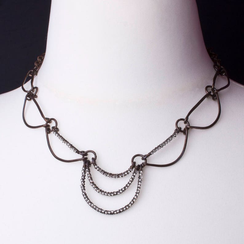Copper Swag necklace   Hand forged oxidised copper with image 0
