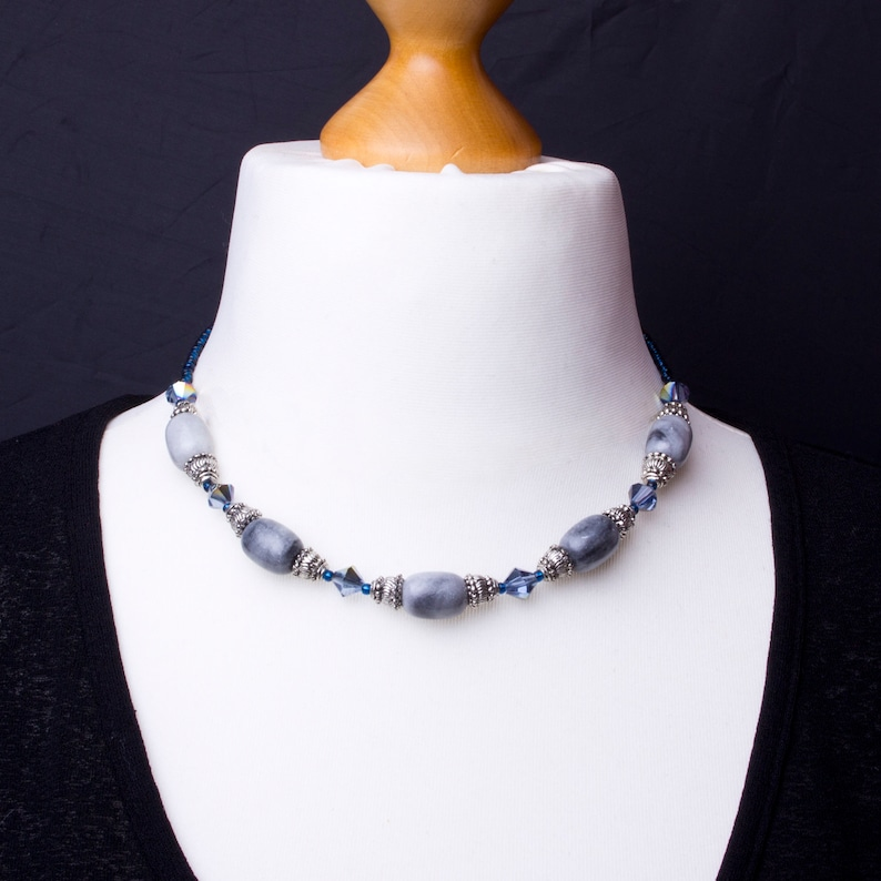 Blue marble necklace  natural grey marble with blue rainbow image 0