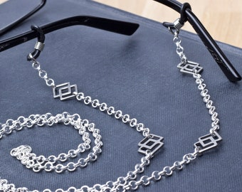 Unisex Glasses holder chain - Squares link silver spectacle strap | Sunglasses holder chain lanyard