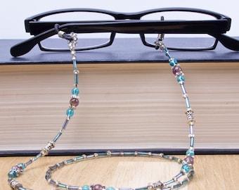Amethyst and blue bead glasses chain - purple gemstone eyewear cord   Eyeglasses holder   Sunglasses neck chain   Glasses lanyard