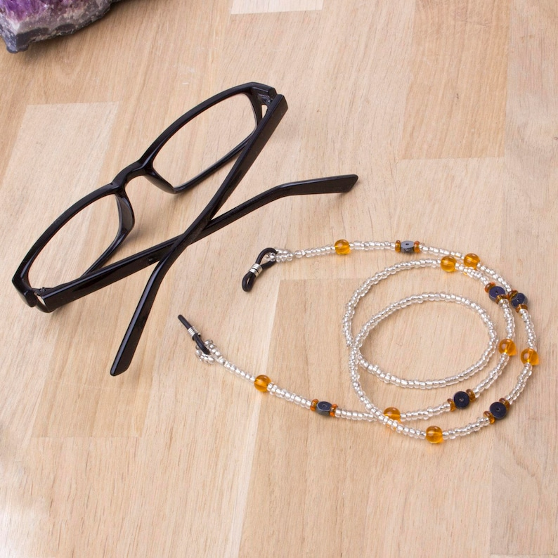Orange eyeglasses chain  Orange bead and Hematite glasses image 0