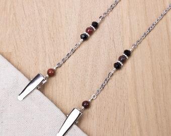 Napkin clip chain - Black bead and brecciated jasper gemstones   silver serviette holder   napkin neck cord   Foodie gifts   Adult bib clips