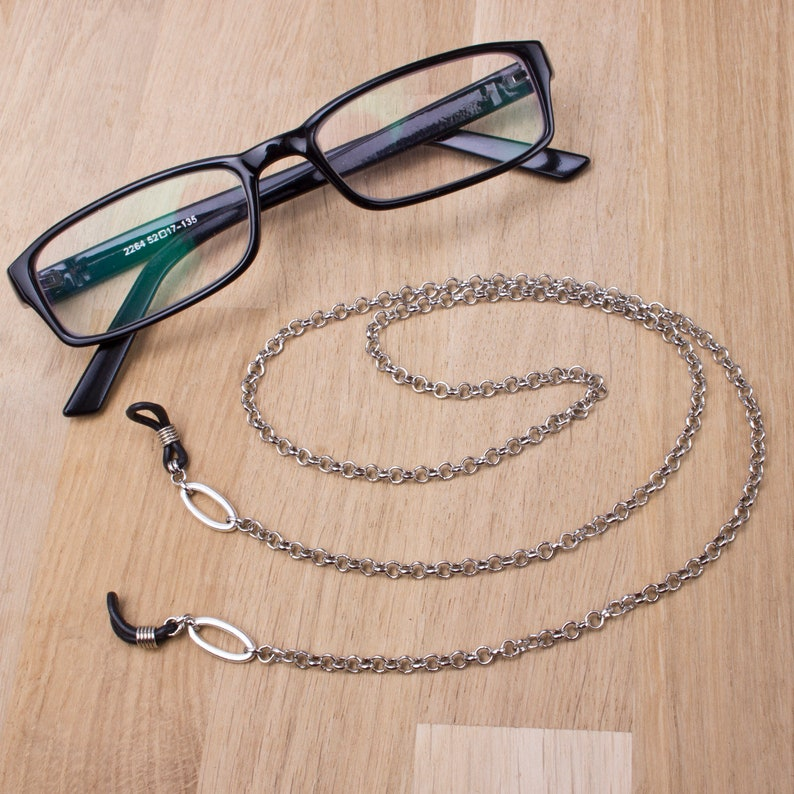 Gents silver eyeglass chain  Belcher chain oval link glasses image 0