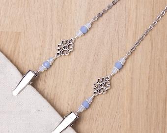 Napkin neck chain clips - Blue beads and fancy link silver serviette clip napkin chain | Mask holder | Napkin holder cord | Adult bib clip