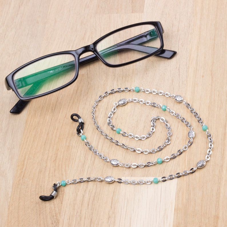 Silver glasses chain with green beads   eyeglasses holder  image 0