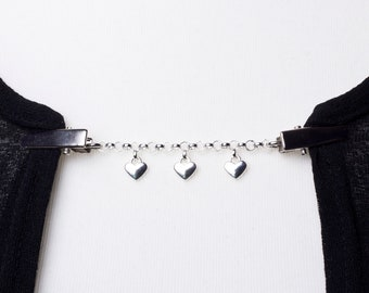 Heart Cardigan clip chain - Silver love hearts and chain sweater clip | Shawl, Pashmina, Sweater fastening | Wrap holder | Cardigan guard