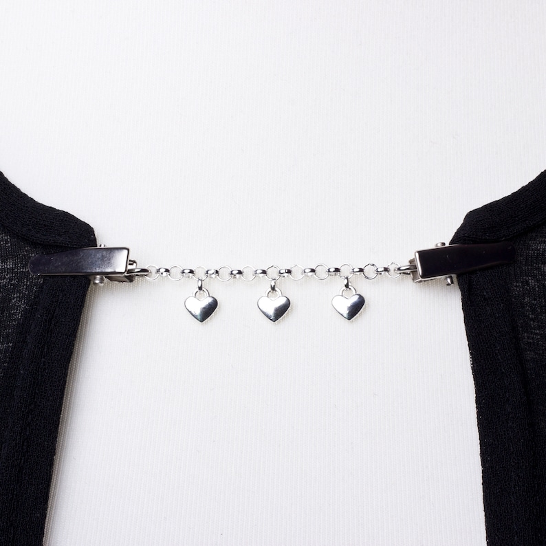 Heart Cardigan clip chain  Silver love hearts and chain image 0