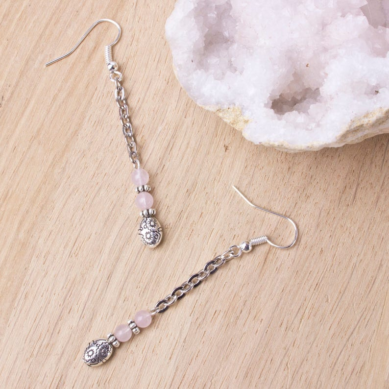 Long Rose quartz earrings  Gemstone and silver ethnic bead image 0