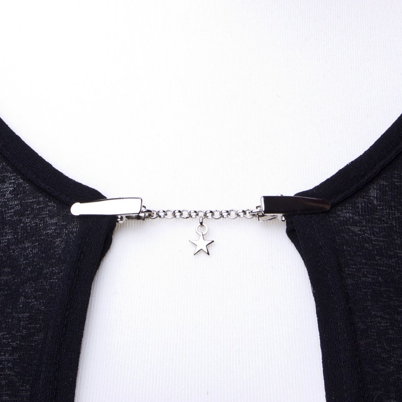 Star Cardigan clip chain  Silver star and chain sweater clip image 0